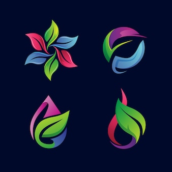 Coleção de logotipo de folhas