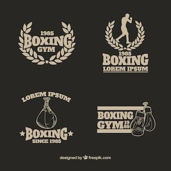 Coleção de logotipo de ginásio de boxe