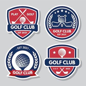 Coleção de logotipo de golfe com design plano colorido
