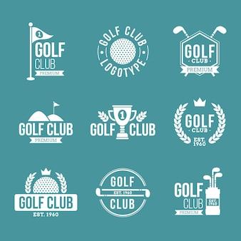 Coleção de logotipo de golfe de design plano