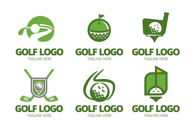 Coleção de logotipo de golfe em design plano