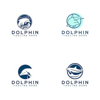 Coleção de logotipo de golfinho