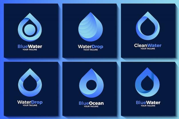 Coleção de logotipo de gota de água