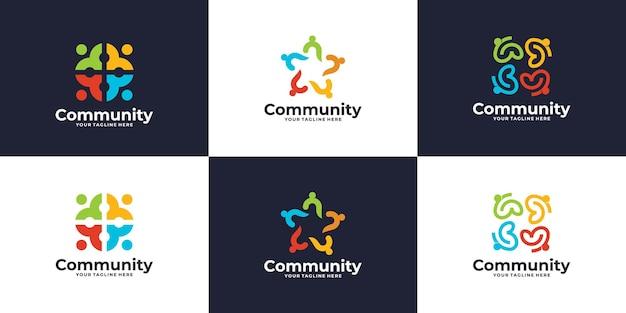 Coleção de logotipo de grupo social colorido criativo
