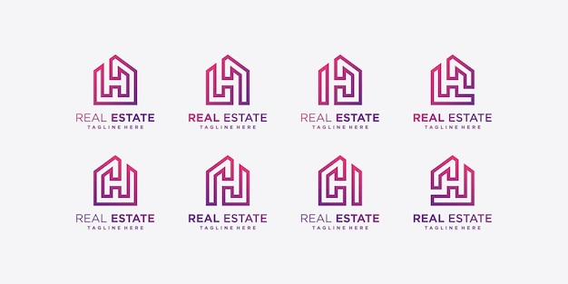 Coleção de logotipo de imóveis modernos, gradiente, construção, vetor premium