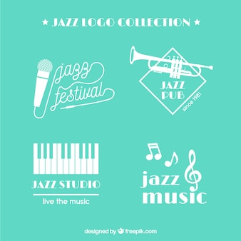 Coleção de logotipo de jazz com design plano