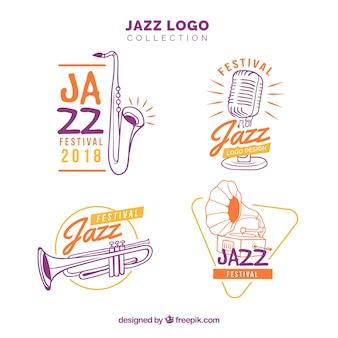 Coleção de logotipo de jazz com estilo desenhado de mão