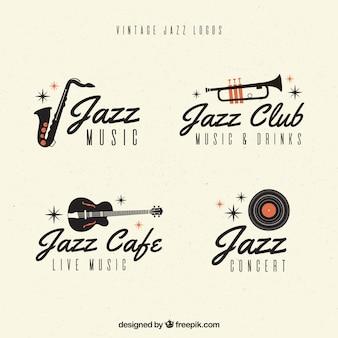 Coleção de logotipo de jazz com estilo vintage