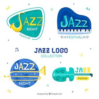 Coleção de logotipo de jazz plana com estilo engraçado
