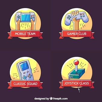 Coleção de logotipo de jogos com design plano