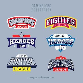 Coleção de logotipo de jogos com estilo de esporte