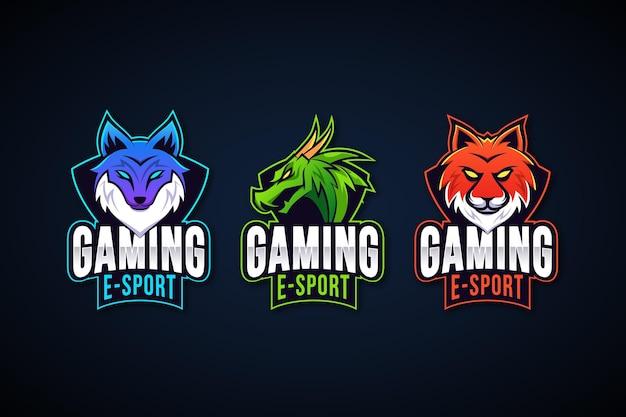 Coleção de logotipo de jogos do esports da gradient