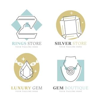 Coleção de logotipo de joias com design plano linear