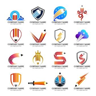 Coleção de logotipo de lápis