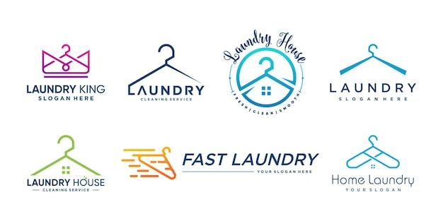 Coleção de logotipo de lavanderia com elementos criativos de estilo premium vector