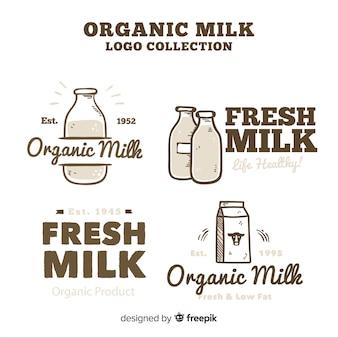 Coleção de logotipo de leite orgânico