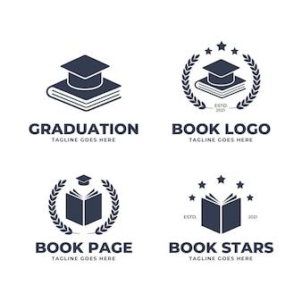 Coleção de logotipo de livro de design plano monocromático