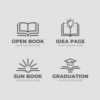 Coleção de logotipo de livro de design plano simples