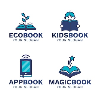Coleção de logotipo de livro plano