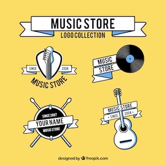 Coleção de logotipo de loja de música com design plano