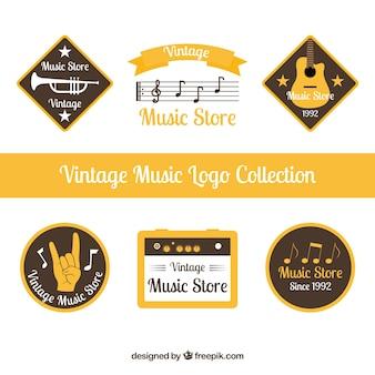 Coleção de logotipo de loja de música com estilo vintage