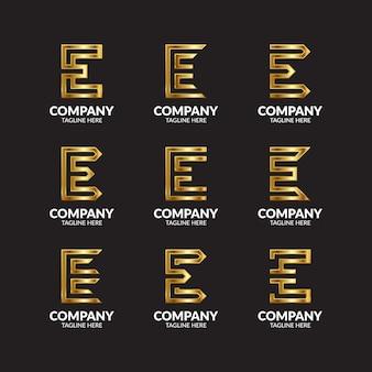 Coleção de logotipo de luxo golden letter e
