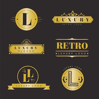 Coleção de logotipo de luxo retrô