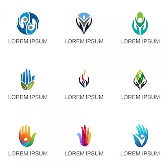Coleção de logotipo de mãos
