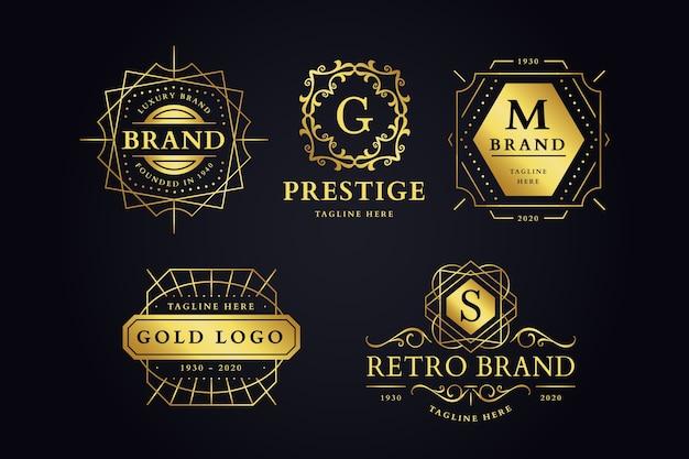 Coleção de logotipo de marca retrô luxuosa