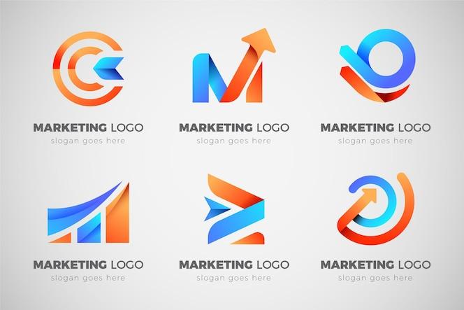 Coleção de logotipo de marketing gradiente