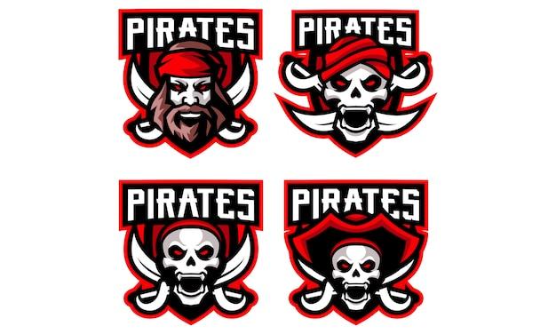 Coleção de logotipo de mascote de esportes de piratas
