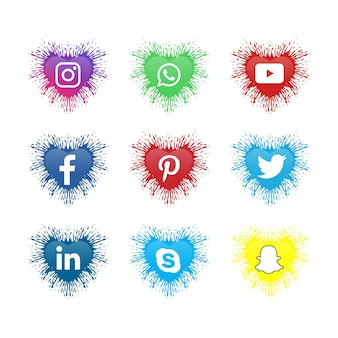 Coleção de logotipo de mídia social de ícones de mídia social com forma de amor