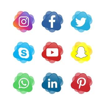 Coleção de logotipo de mídia social de ícones de mídia social