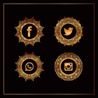 Coleção de logotipo de mídia social de luxo ouro