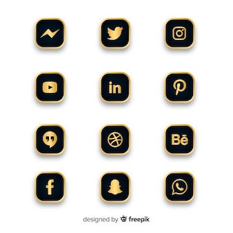 Coleção de logotipo de mídia social de luxo
