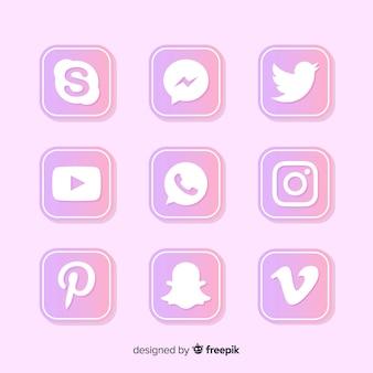 Coleção de logotipo de mídia social gradiente