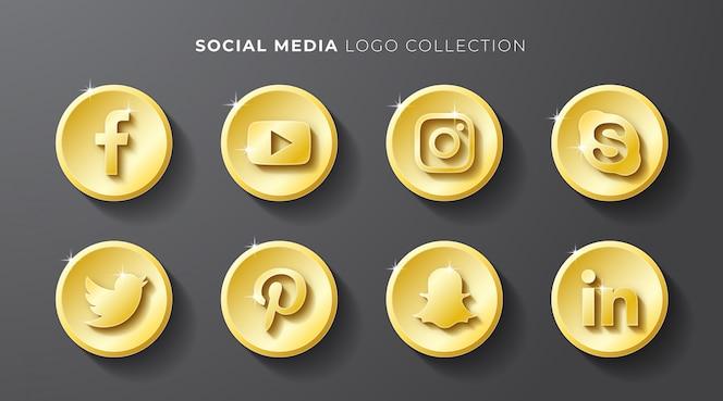 Coleção de logotipo de mídia social ouro