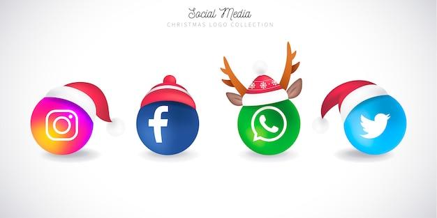 Coleção de logotipo de mídias sociais de natal