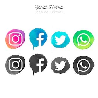 Coleção de logotipo de mídias sociais em aquarela