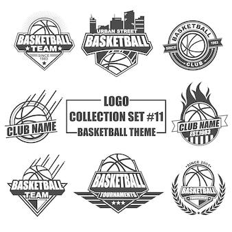 Coleção de logotipo de modelo definida para esporte de basquete