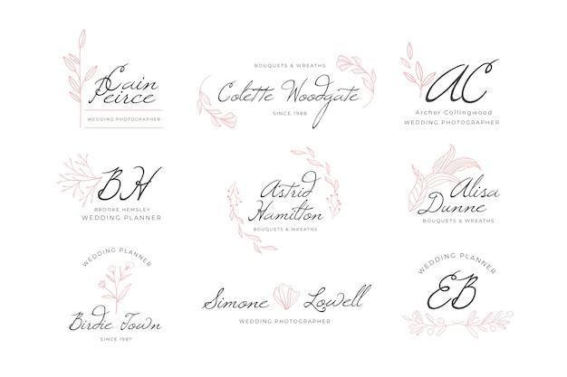 Coleção de logotipo de monograma de casamento