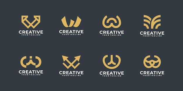 Coleção de logotipo de monograma, design de logotipo da letra w, ícones para empresa de negócios