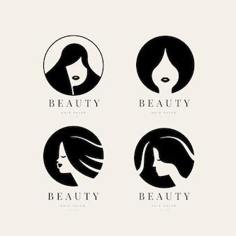 Coleção de logotipo de mulher plana