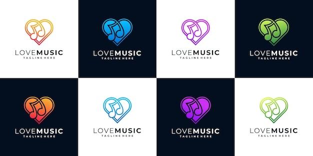 Coleção de logotipo de música colorida