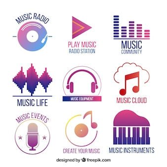 Coleção de logotipo de música com estilo gradiente