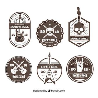 Coleção de logotipo de música rock marrom