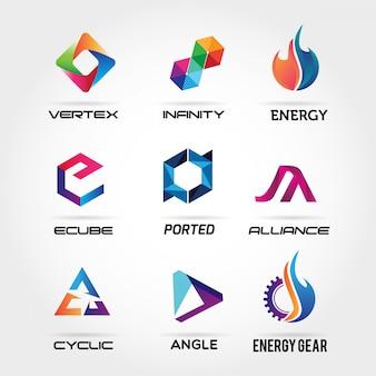 Coleção de logotipo de negócio abstrato