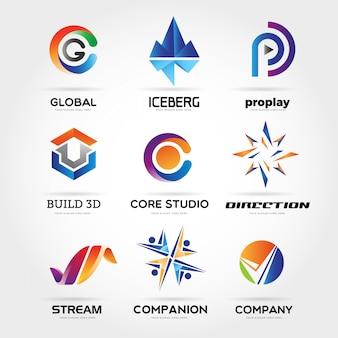 Coleção de logotipo de negócio colorido abstrato