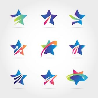 Coleção de logotipo de negócios estrela colorida