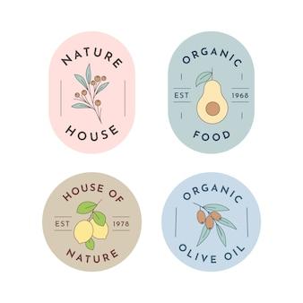 Coleção de logotipo de negócios naturais em estilo minimalista
